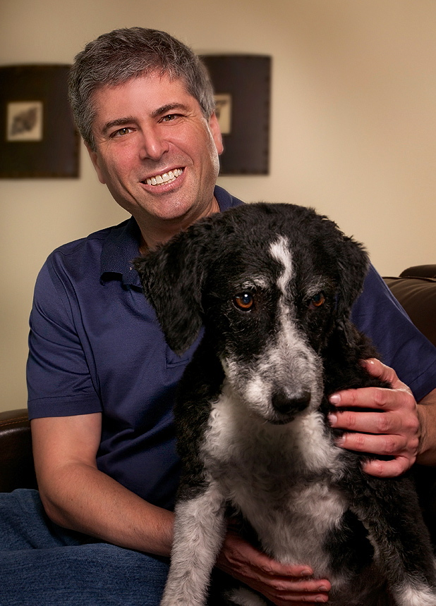 Peter and his dog portrait